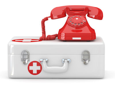 Helpline.Services. Phone on medical kit. 3d